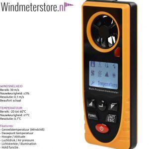 Benetec GM8910 Windmeter - Allesmeter o.a. hoogte, luchtdruk & dauwpunt