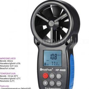 Holdpeak HP-866B Windmeter Incl gevoelstemperatuur meting