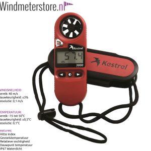 Kestrel 3000 Windmeter - Luchtstroommeter - Hittestress meter