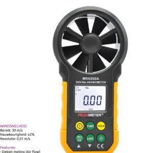 Peakmeter MS6252A Windmeter (2% nauwkeurig) incl. debiet meting