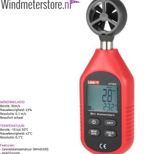 Uni-T UT363 Windmeter Incl gevoelstemperatuur meting